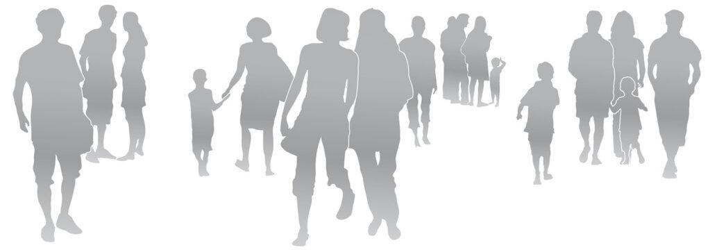 Set Menschen, kleine Menschengruppen, Silhouette, grau, Menschen in der Stadt, Gruppen mit Abstand, Hygieneregeln, Vektor, isoliert