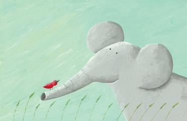 Ilustracja Akwarela - Słoń i czerwony ptak