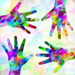Multicolored abstract hands on background; Eps10