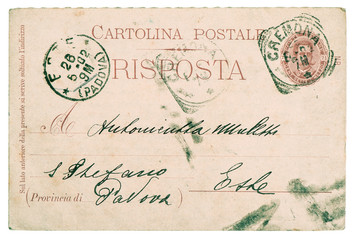 postcard. old used italian handwritten letter