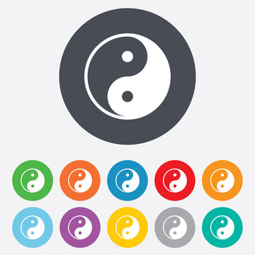 Ying yang sign icon. Harmony and balance symbol.