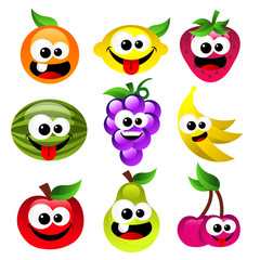 Set of fun smiling cartoon fruits