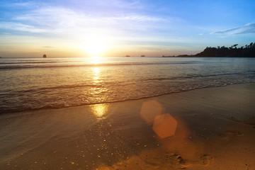 Beautiful sunset on the sea beach.