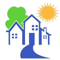 house with tree and sun logo