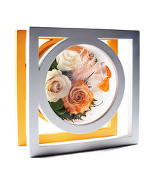 Wooden frame decorated with flowers