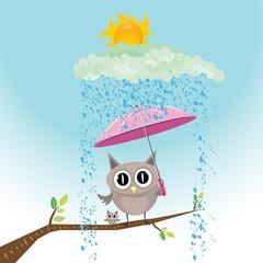 vector cartoon cute little owl bird on tree branch