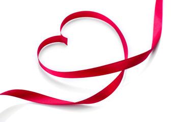 Valentine Heart. Elegant Red Satin Gift Ribbon