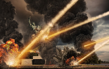 Apocalypse over Statue of Liberty