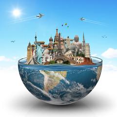 Fototapete - Travel the world monuments concept