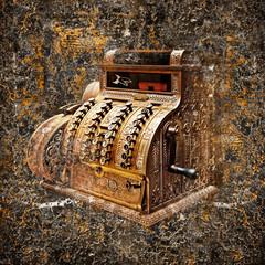 Old-time cash register in a shop. Object.