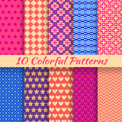 Colorful geometric bright seamless patterns (tiling).