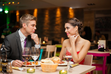 Flirting in restaurant