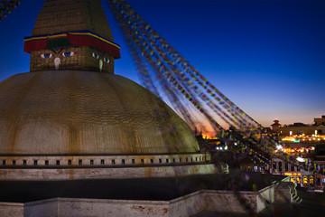 Boudhanath stupa at night. Kathmandu, Nepal