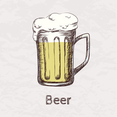 Vector colorful illustration of hand drawn sketch of beer mug