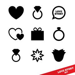 Love story flat icon. Wedding day. Valentines day.
