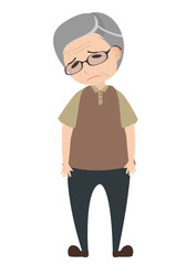 Depressed old man, character vector