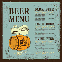 beer menu with barrel