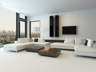 Modern white living room with wooden furniture