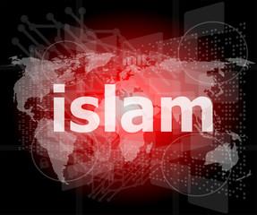 islam, hi-tech background, digital business touch screen