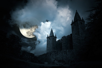 Garden Poster Old building Mysterious medieval castle