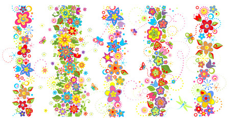 Seamless borders with funny colorful flowers