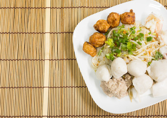 Asian seafood noodles with meatball
