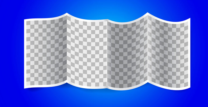 Folded transparency paper on blue background