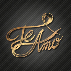 Te Amo (I love You) - Hand drawn quotes, 3d white on blackboard