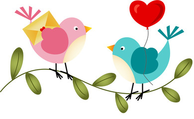 Lovely Birds with Balloon and Envelope