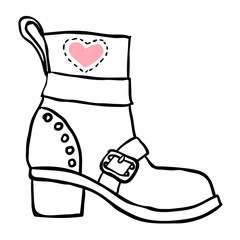 Old boot. Vector sketch