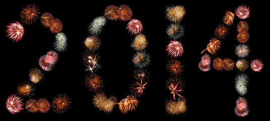 Firework Bursts Arranged in to the Number 2014