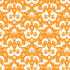 vector cute geometrical foxes seamless pattern background