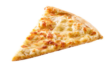slice of cheese pizza close-up isolated on white background