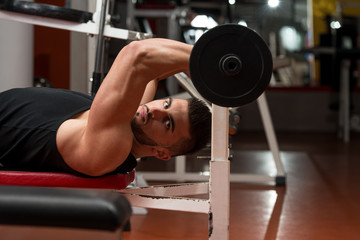 Man In The Gym Exercising Triceps With Barbell