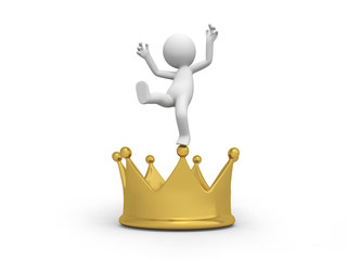 A 3d  people standing on a big crown