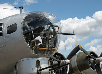 Details of a World War II B17 Bomber's Propellers and Guns