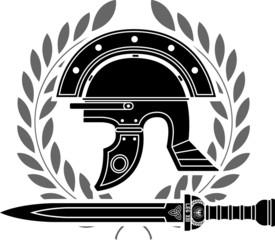 roman helmet. stencil. fifth variant