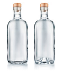 Vodka bottle with wooden cap isolated