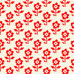 vector illustration of traditional romanian red floral pattern,