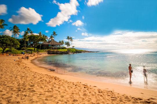 Maui's famous Kaanapali beach resort area