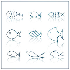 Vector Illustration of Fish Icons