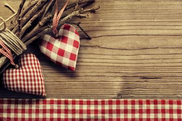 Textile hearts on twig - Harmony background