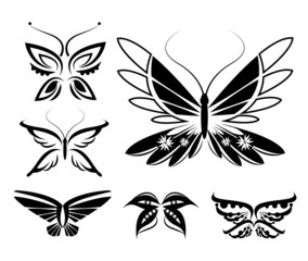 set of butterflies silhouettes isolated on white background