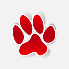 sticker animal paw, realistic design element