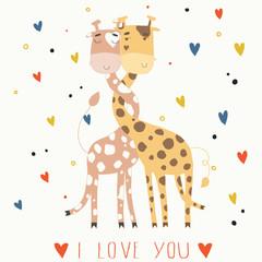 Illustration of giraffes in love. Card for Valentine's Day
