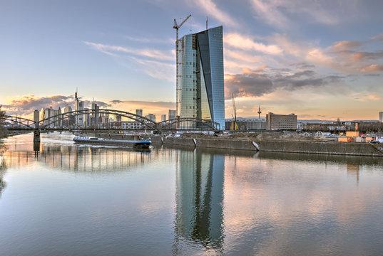 European Central Bank and Frankfurt Skyline