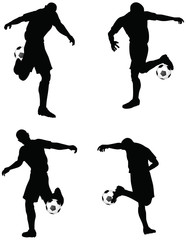 soccer players silhouettes in dribble position