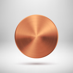 Fototapete - Abstract Circle Button with Bronze Metal Texture