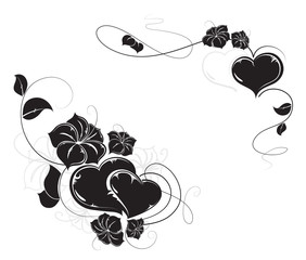 Hearts and flowers silhouettes