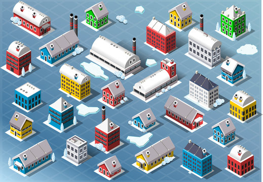 Set of Isometric Building in Winter